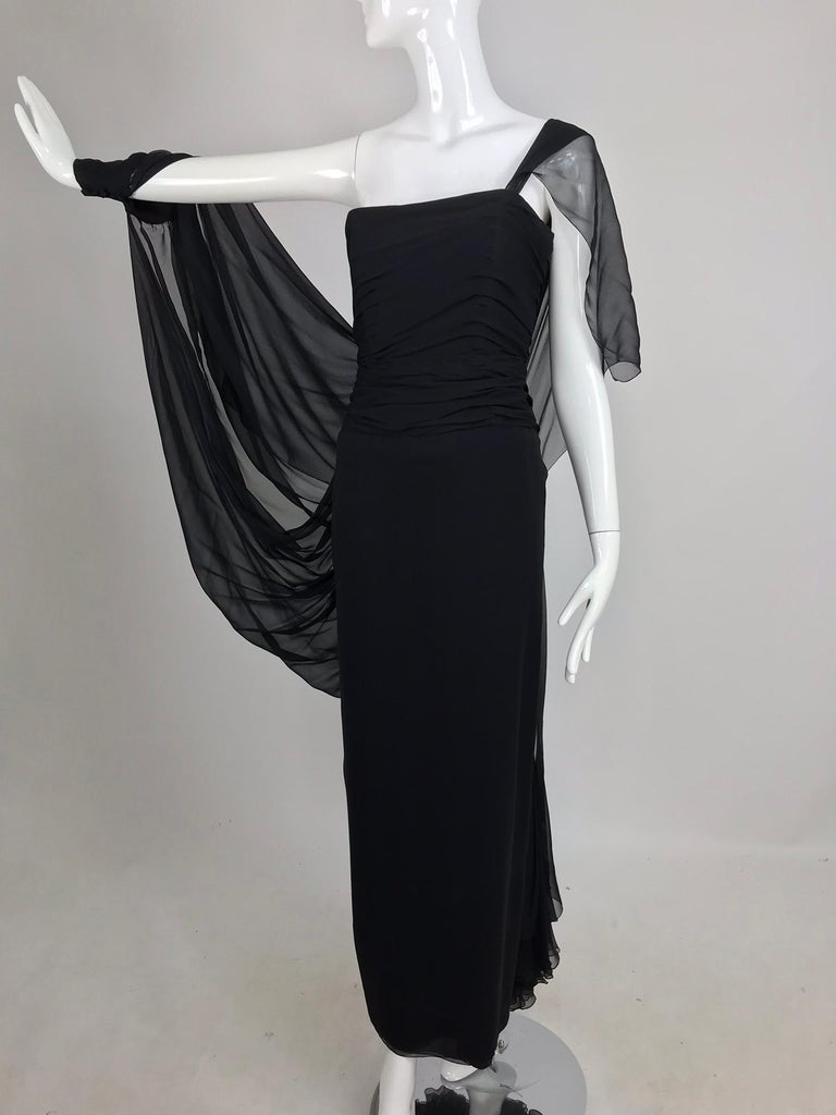 Paul-Louis Orrier Black Silk Chiffon One Sleeve Demi Couture Gown 1980s For Sale 9