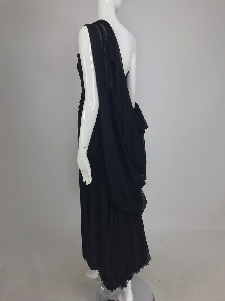 Paul-Louis Orrier Black Silk Chiffon One Sleeve Demi Couture Gown 1980s For Sale 10