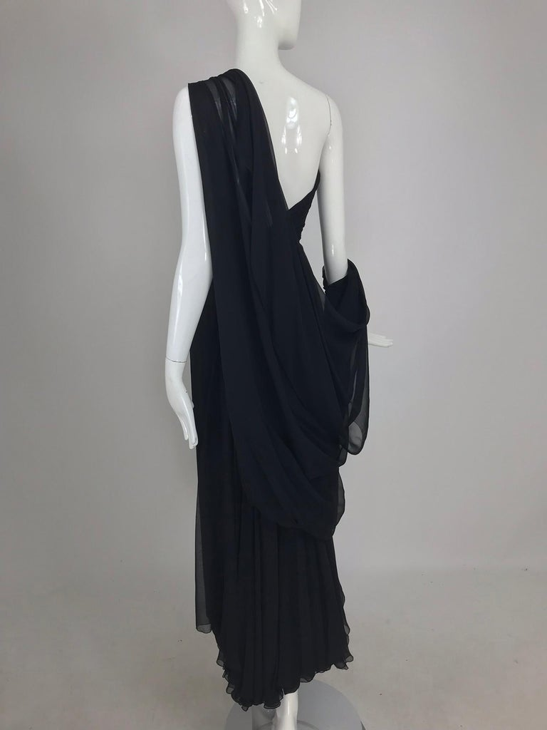 Paul-Louis Orrier Black Silk Chiffon One Sleeve Demi Couture Gown 1980s For Sale 11
