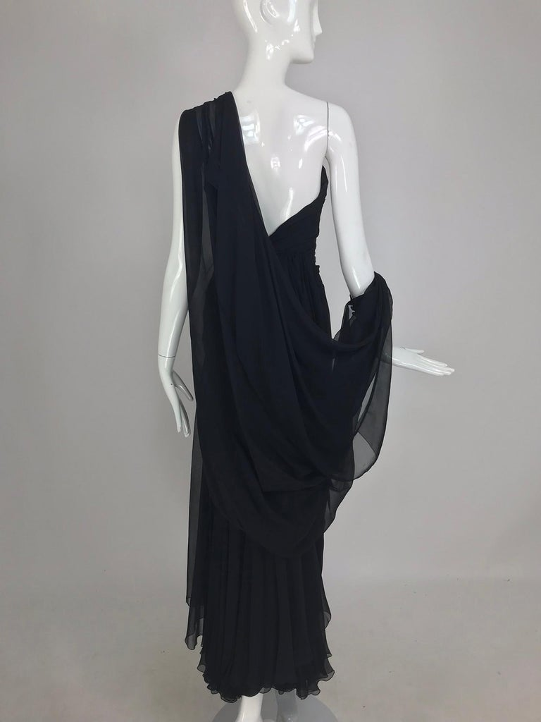 Paul-Louis Orrier Black Silk Chiffon One Sleeve Demi Couture Gown 1980s For Sale 12