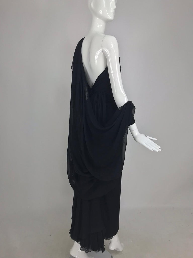 Paul-Louis Orrier Black Silk Chiffon One Sleeve Demi Couture Gown 1980s For Sale 13