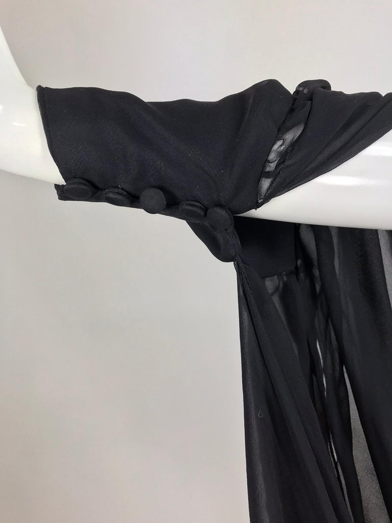Paul-Louis Orrier Black Silk Chiffon One Sleeve Demi Couture Gown 1980s In Good Condition For Sale In West Palm Beach, FL