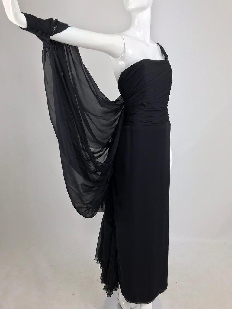 Women's Paul-Louis Orrier Black Silk Chiffon One Sleeve Demi Couture Gown 1980s For Sale