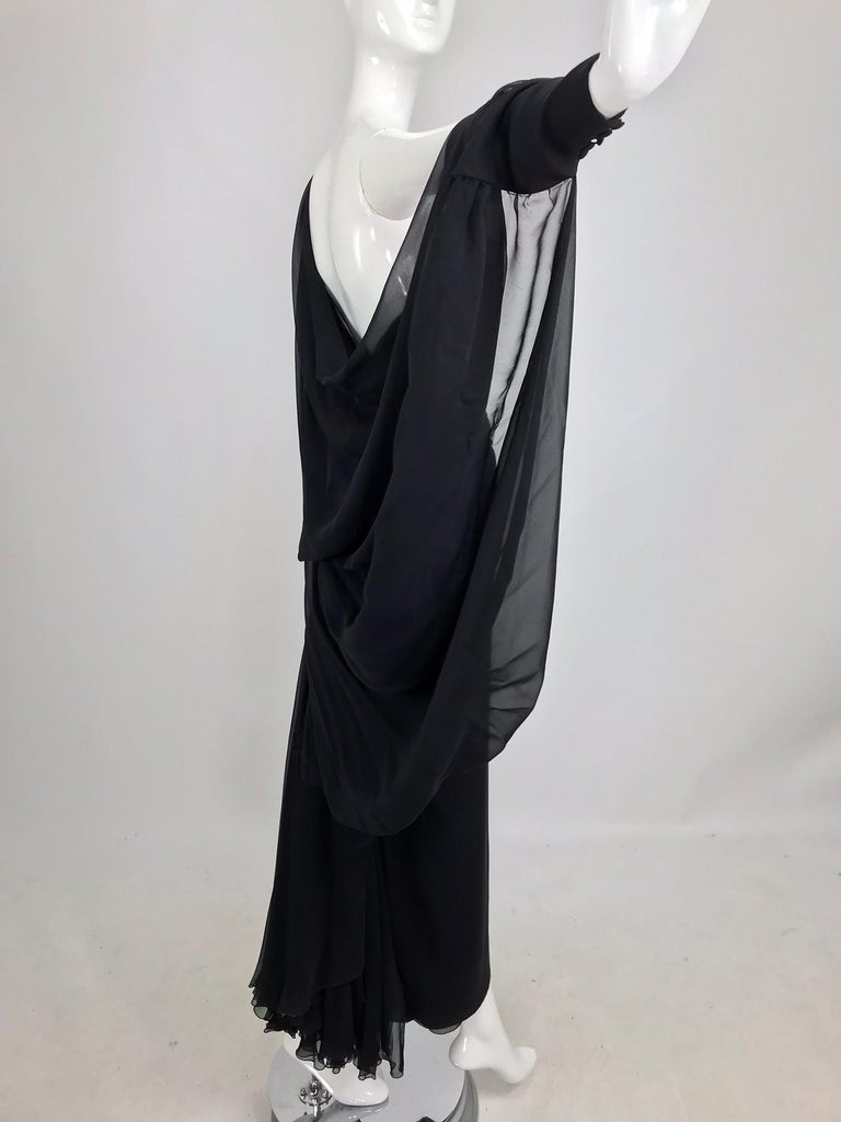 Paul-Louis Orrier Black Silk Chiffon One Sleeve Demi Couture Gown 1980s For Sale 1