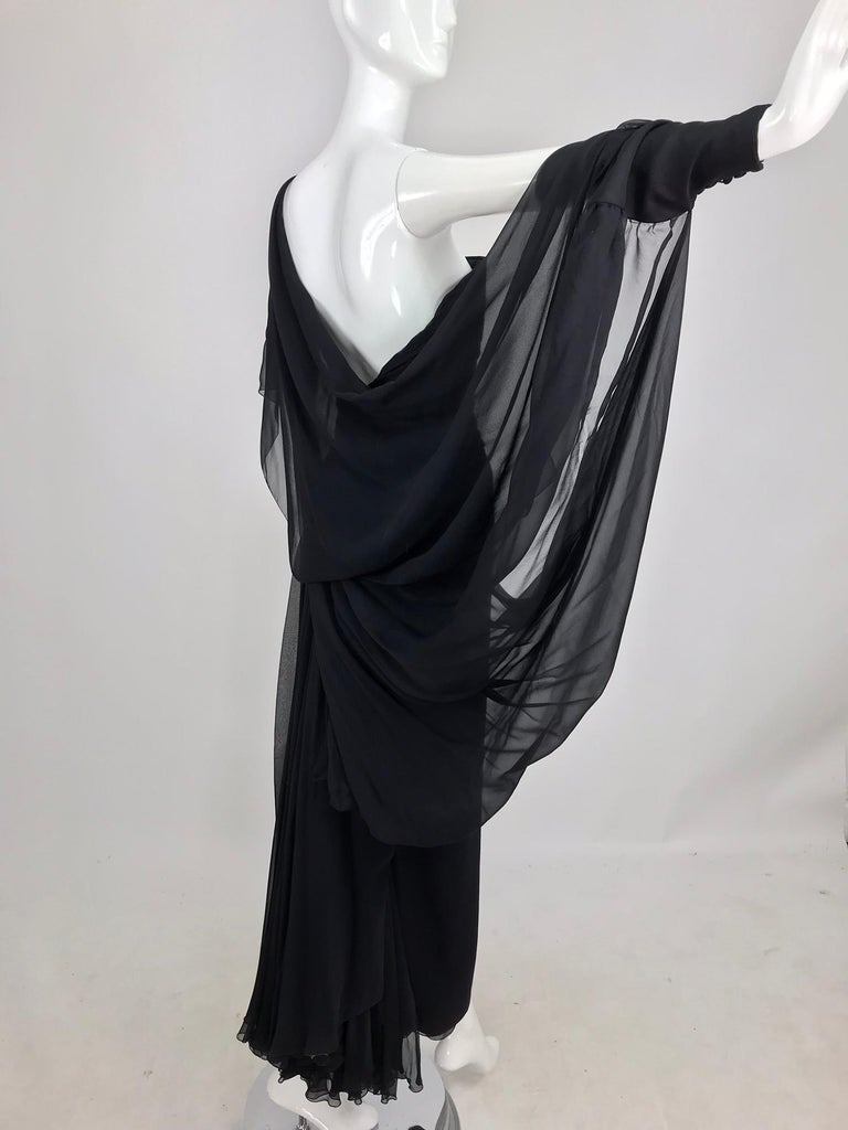 Paul-Louis Orrier Black Silk Chiffon One Sleeve Demi Couture Gown 1980s For Sale 2