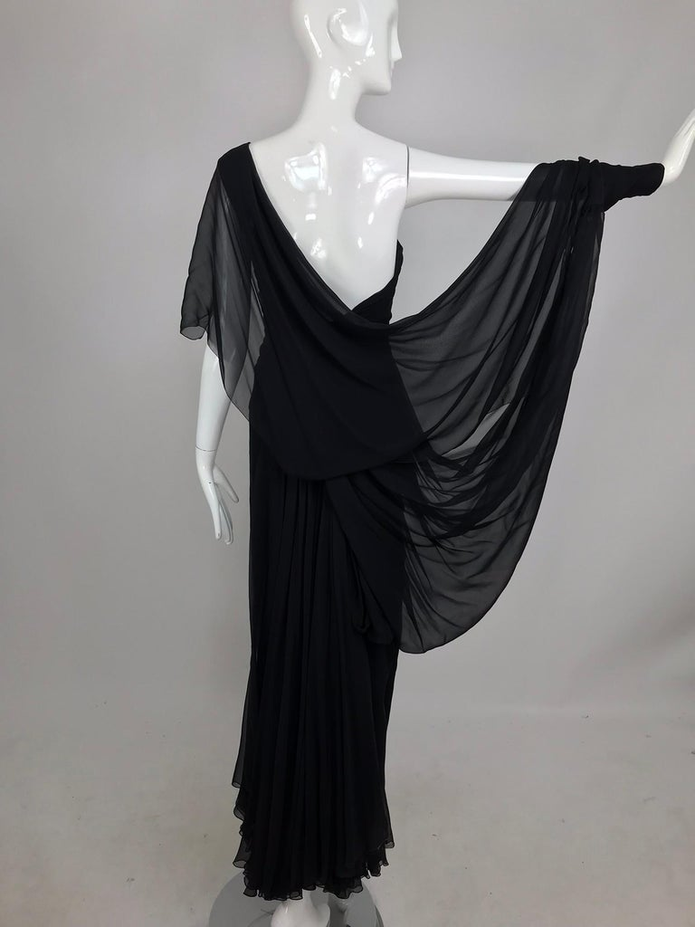Paul-Louis Orrier Black Silk Chiffon One Sleeve Demi Couture Gown 1980s For Sale 3