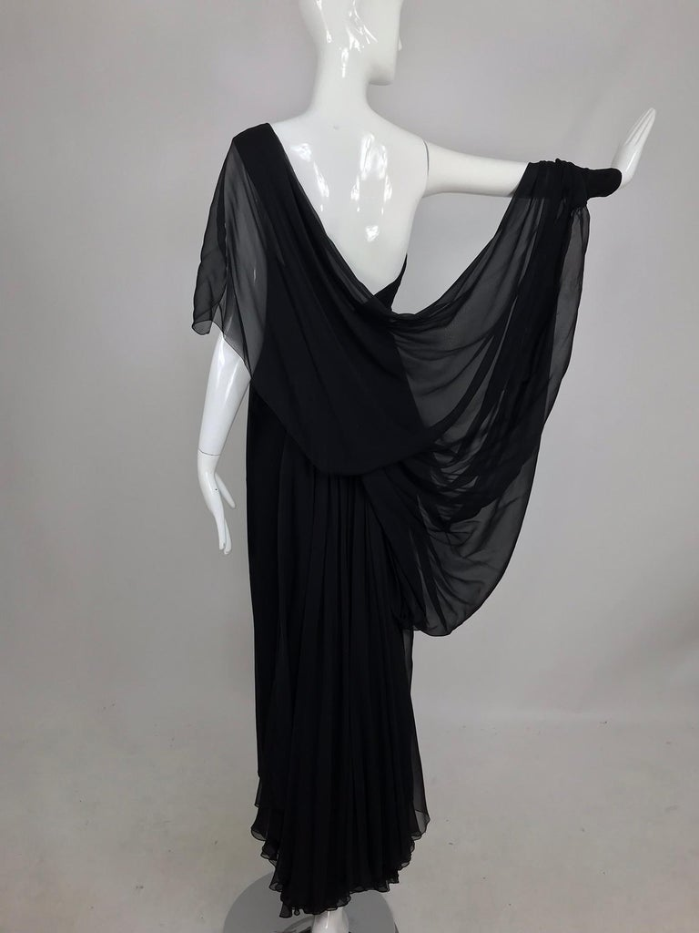 Paul-Louis Orrier Black Silk Chiffon One Sleeve Demi Couture Gown 1980s For Sale 4