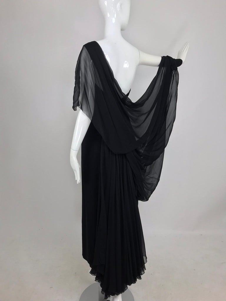 Paul-Louis Orrier Black Silk Chiffon One Sleeve Demi Couture Gown 1980s For Sale 5