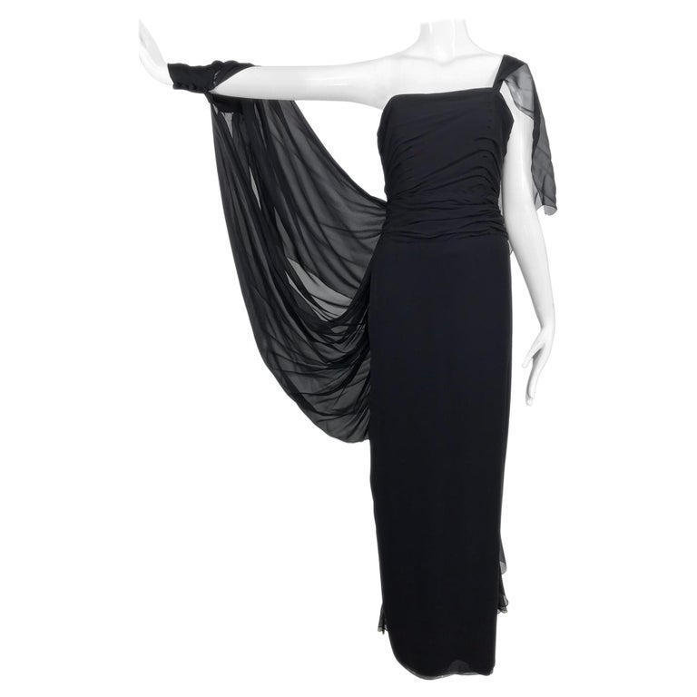 Paul-Louis Orrier Black Silk Chiffon One Sleeve Demi Couture Gown 1980s For Sale