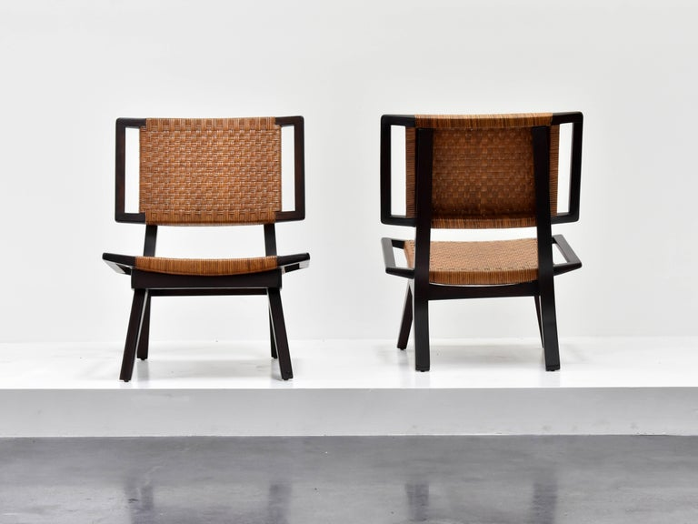 Mid-Century Modern Paul László Style Lounge Chairs, Woven Rattan, Dark Wood, California 1950s For Sale