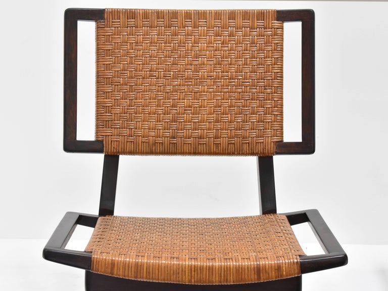 American Paul László Style Lounge Chairs, Woven Rattan, Dark Wood, California 1950s For Sale
