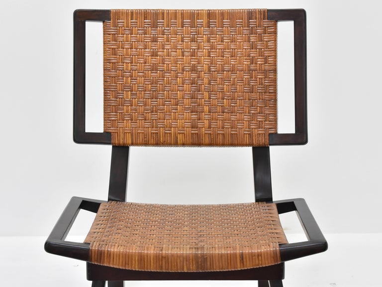 American Paul László Style Lounge Chairs, Woven Rattan, Dark Wood, California, 1950s For Sale