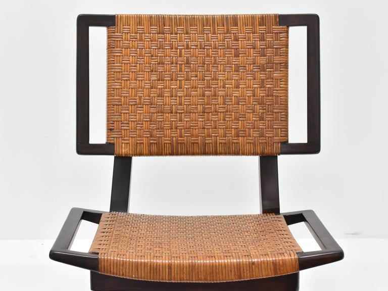 Paul László Style Lounge Chairs, Woven Rattan, Dark Wood, California 1950s In Excellent Condition For Sale In West Palm Beach, FL