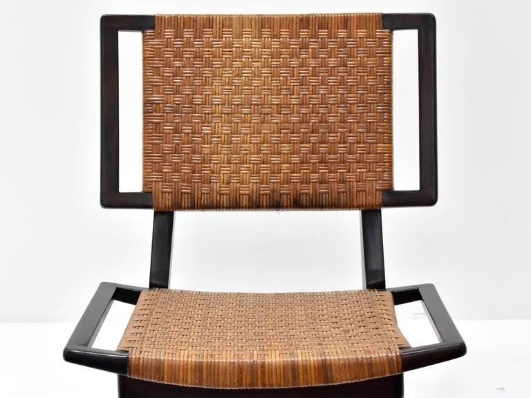 Paul László Style Lounge Chairs, Woven Rattan, Dark Wood, California, 1950s In Excellent Condition For Sale In West Palm Beach, FL