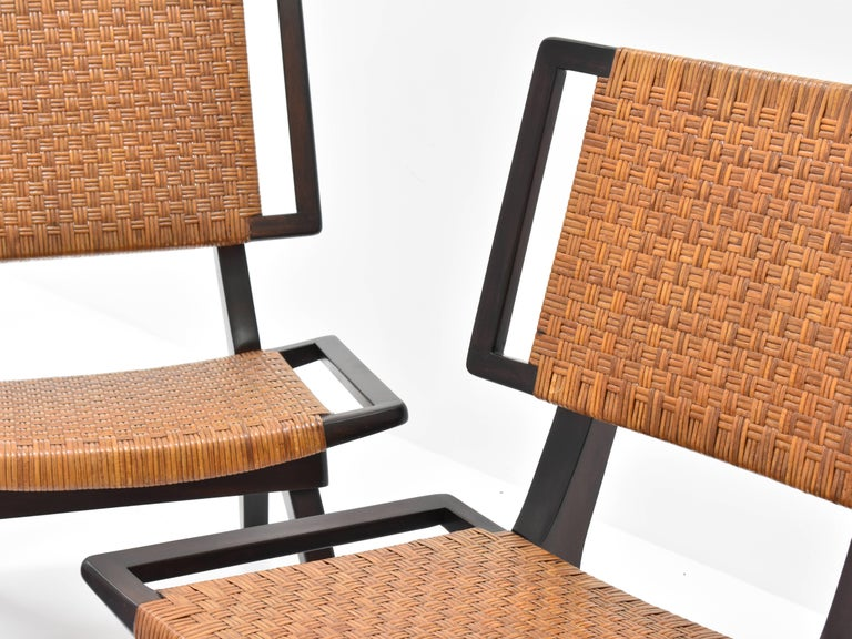 Mid-20th Century Paul László Style Lounge Chairs, Woven Rattan, Dark Wood, California 1950s For Sale