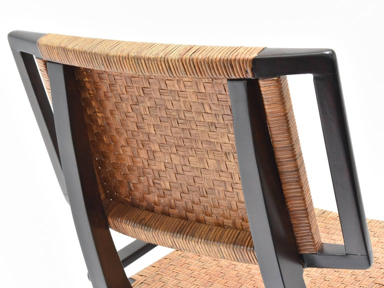 Mid-20th Century Paul László Style Lounge Chairs, Woven Rattan, Dark Wood, California, 1950s For Sale