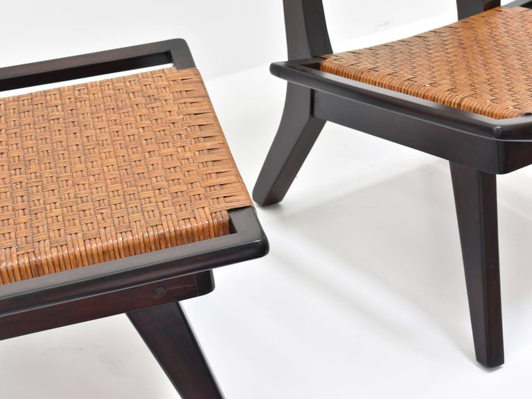 Paul László Style Lounge Chairs, Woven Rattan, Dark Wood, California 1950s For Sale 2