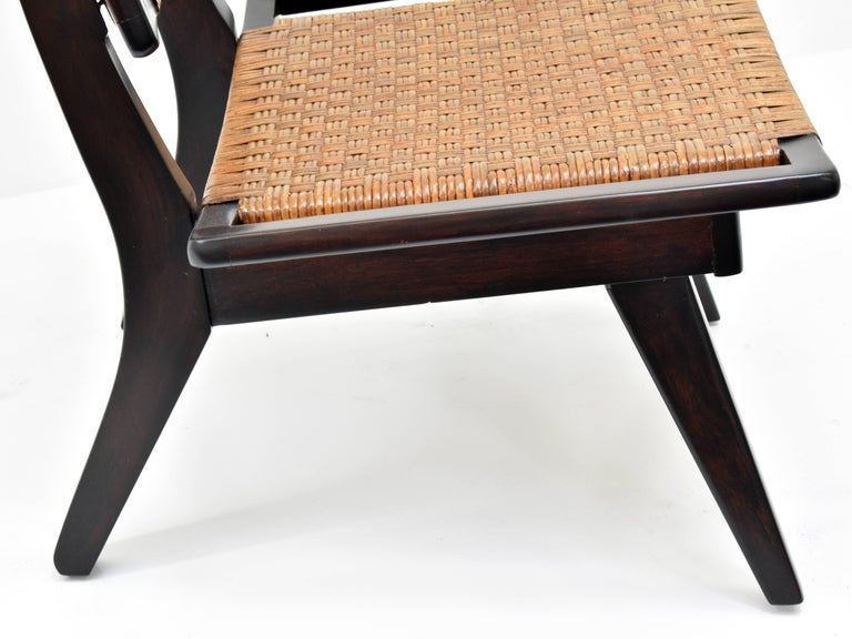 Paul László Style Lounge Chairs, Woven Rattan, Dark Wood, California, 1950s For Sale 2