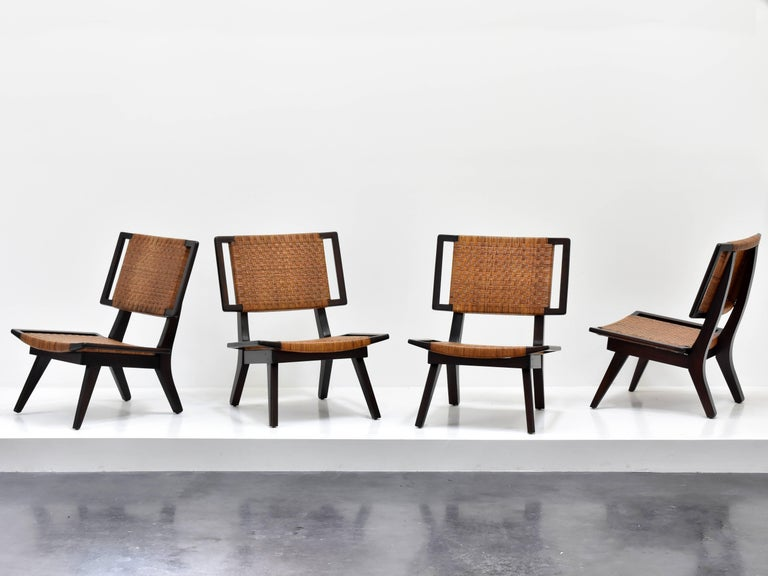 Paul László Style Lounge Chairs, Woven Rattan, Dark Wood, California, 1950s For Sale 3