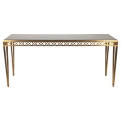 Paul M. Jones Neoclassical Polished Black Granite & Brass Console Table