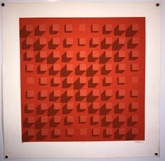 Abstract Geometric 1970s Vintage Silkscreen Screen Print Manner of Vasarely