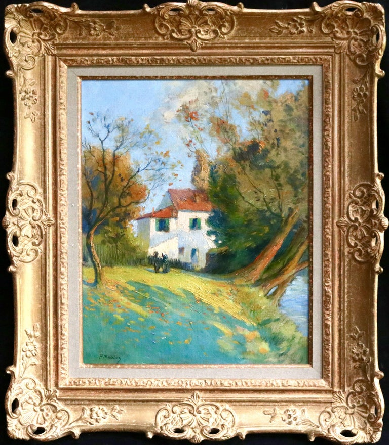 Cottage by River - 19th Century Oil, Figures in River Landscape by Paul Madeline For Sale 1