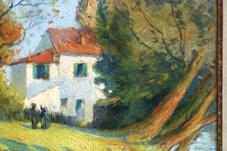 Cottage by River - 19th Century Oil, Figures in River Landscape by Paul Madeline For Sale 2