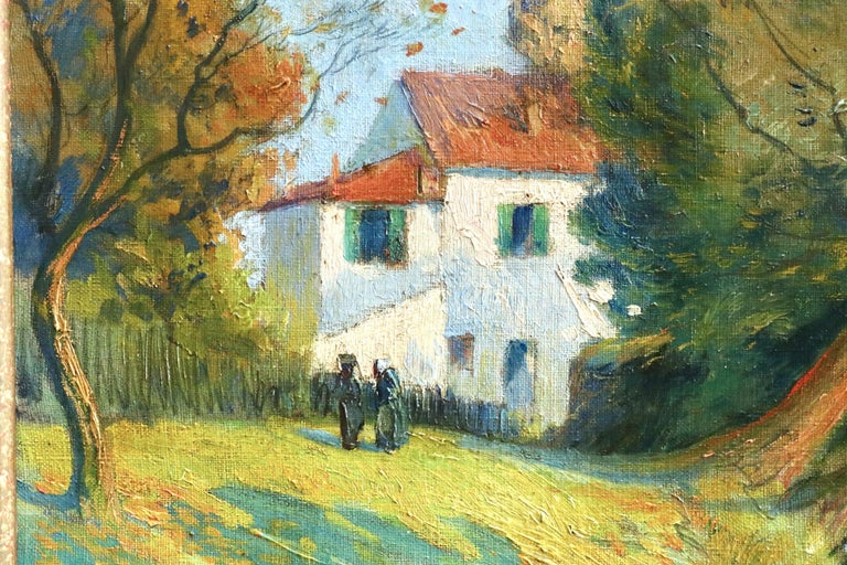 Cottage by River - 19th Century Oil, Figures in River Landscape by Paul Madeline For Sale 4