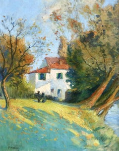 Cottage by River - 19th Century Oil, Figures in River Landscape by Paul Madeline