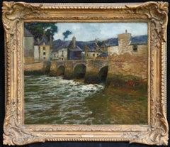 Auray, Brittany - 19th Century Oil, River in Village Landscape by Paul Madeline