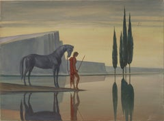 The Rider. Metaphysical dreamlike scene of a Man and a Horse at the edge of Lake
