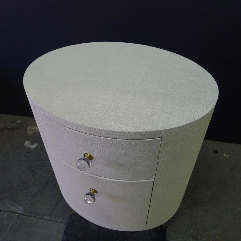 Paul Marra Linen-Wrapped Round Nightstand For Sale 4