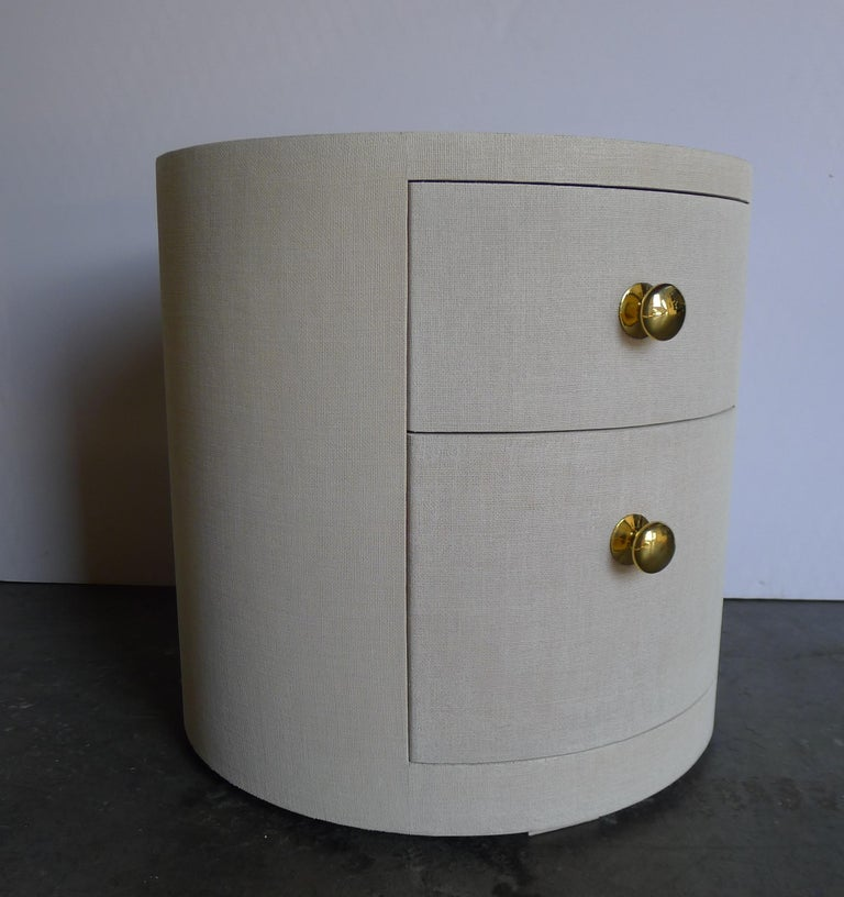 Modern Paul Marra Linen-Wrapped Round Nightstand For Sale