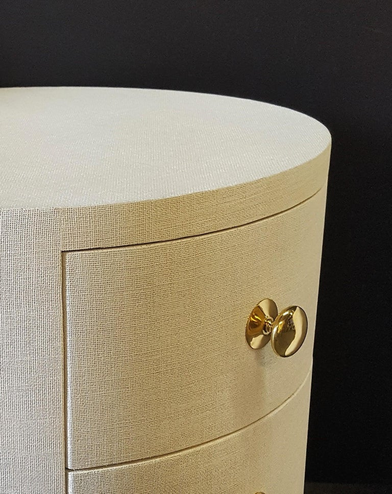 American Paul Marra Linen-Wrapped Round Nightstand For Sale