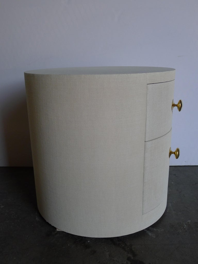 Paul Marra Linen-Wrapped Round Nightstand For Sale 1
