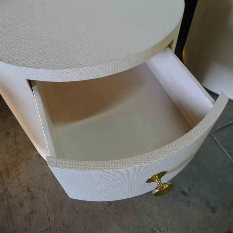 Paul Marra Linen-Wrapped Round Nightstand For Sale 3
