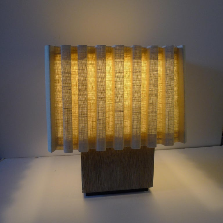 Paul Marra Modern Distressed Oak Lamp In Excellent Condition For Sale In Los Angeles, CA