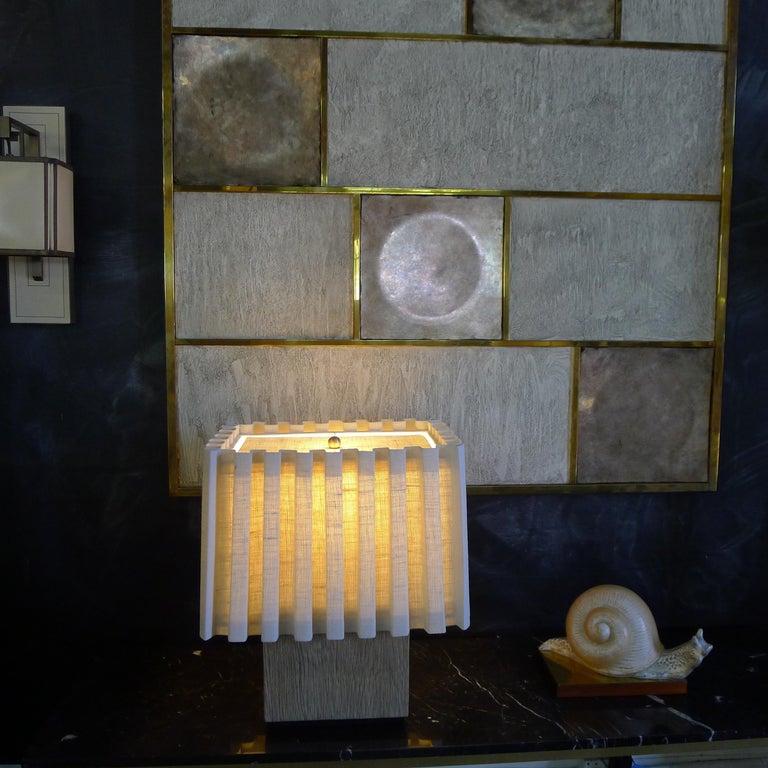 Wood Paul Marra Modern Distressed Oak Lamp For Sale