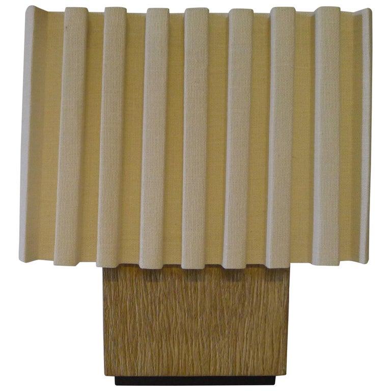 Paul Marra Modern Distressed Oak Lamp For Sale