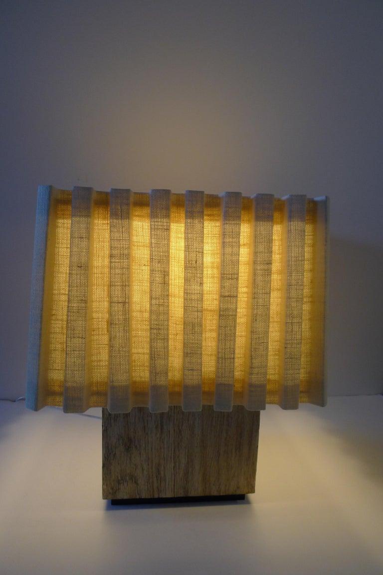 Silvered Paul Marra Modern Distressed Silver Oak Lamp For Sale