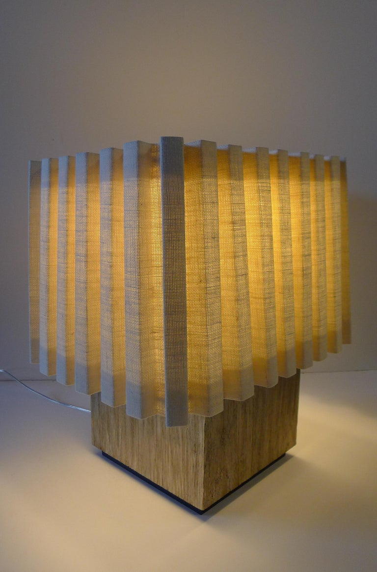 Paul Marra Modern Distressed Silver Oak Lamp In Excellent Condition For Sale In Los Angeles, CA