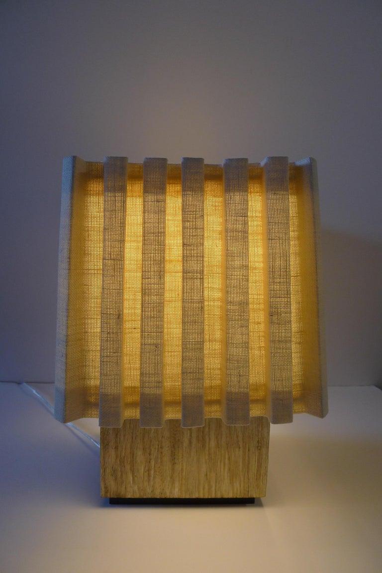 Contemporary Paul Marra Modern Distressed Silver Oak Lamp For Sale