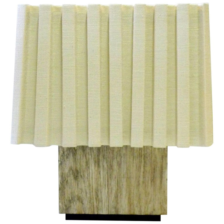 Paul Marra Modern Distressed Silver Oak Lamp For Sale