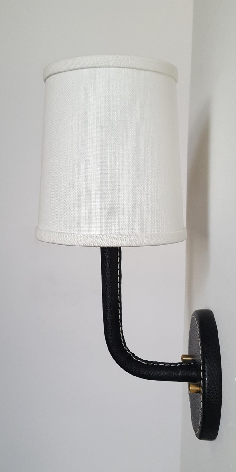Modern Paul Marra Top-Stitched Leather Wrapped Sconce For Sale