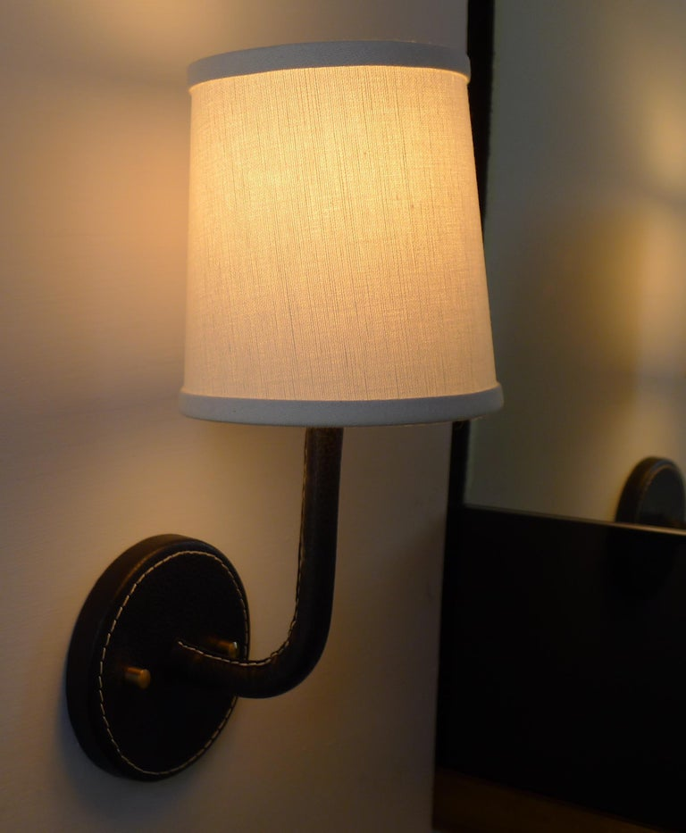 Contemporary Paul Marra Top-Stitched Leather Wrapped Sconce For Sale