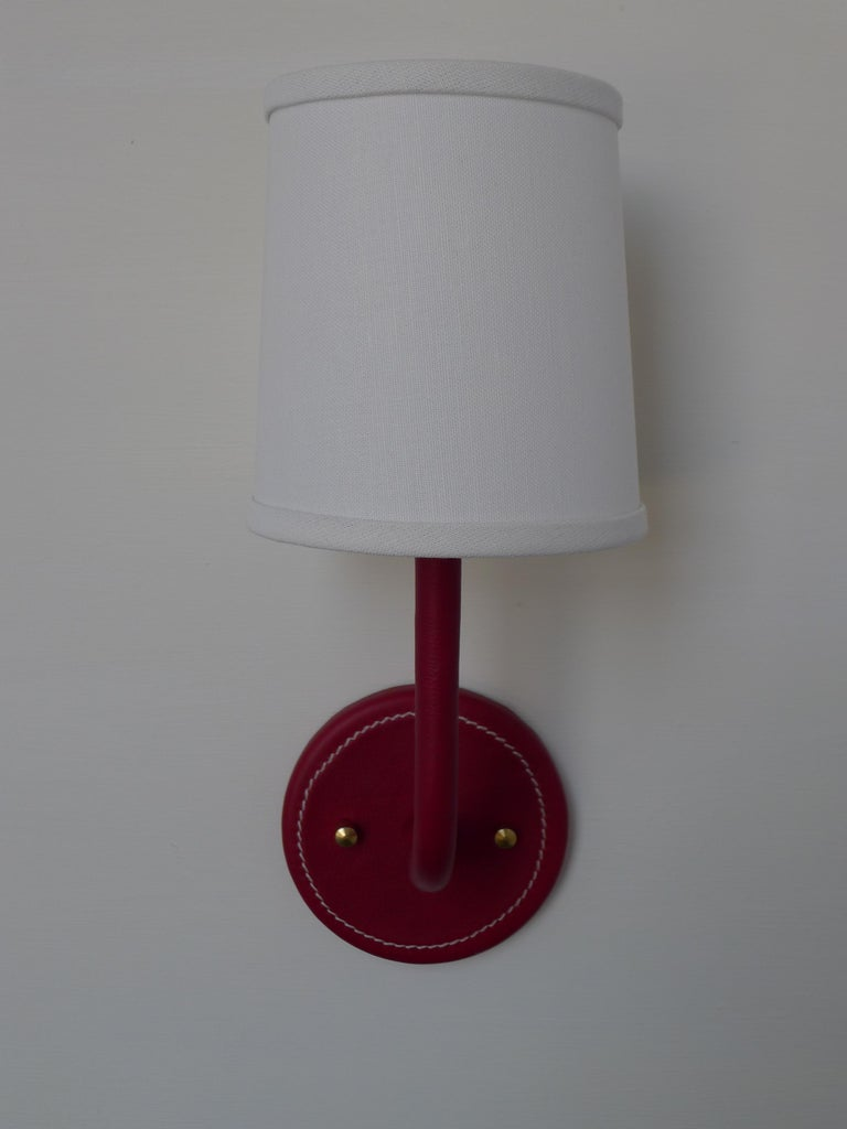 Modern Paul Marra Top-Stitched Leather Wrapped Sconce in Red For Sale