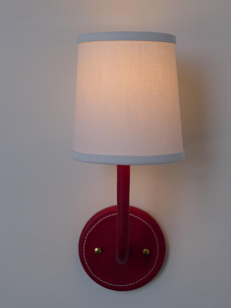 American Paul Marra Top-Stitched Leather Wrapped Sconce in Red For Sale