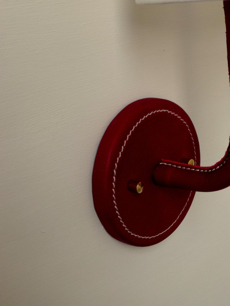 Paul Marra Top-Stitched Leather Wrapped Sconce in Red In New Condition For Sale In Los Angeles, CA