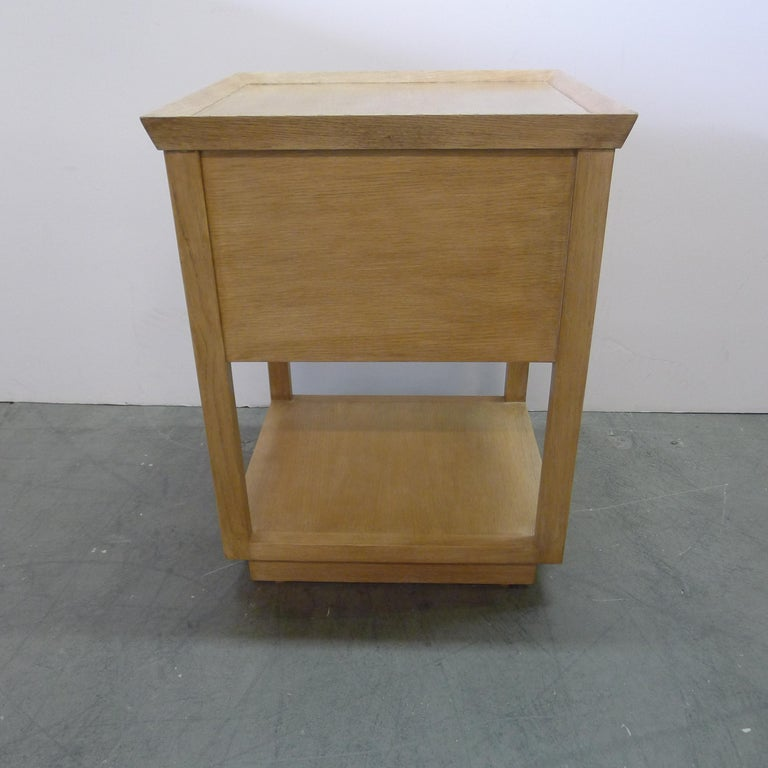 Contemporary Paul Marra Two-Tier Nightstand in Rift Sawn Oak Natural Finish For Sale