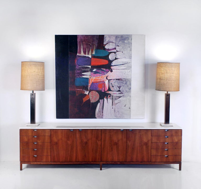 Mid-Century Modern Paul Maxwell Abstract Modernist Oil Painting on Canvas 1971